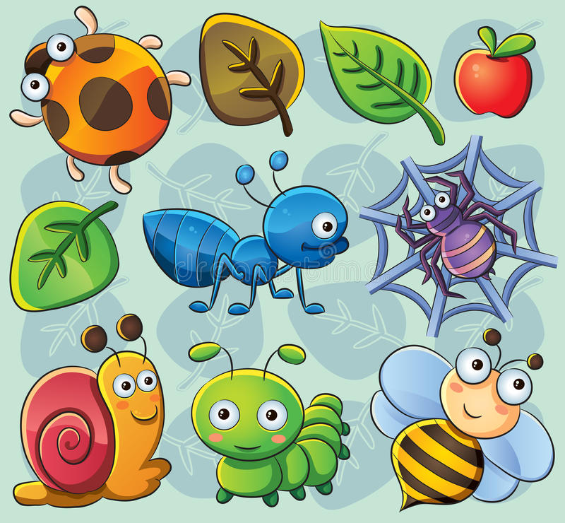 Download Cute Bugs stock vector. Image of spider, bugs, character - 24717307