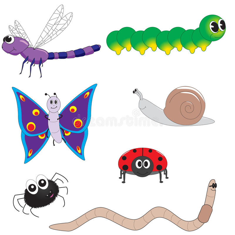 Download Cute Bugs stock vector. Image of snail, image, kids, worm - 28061252