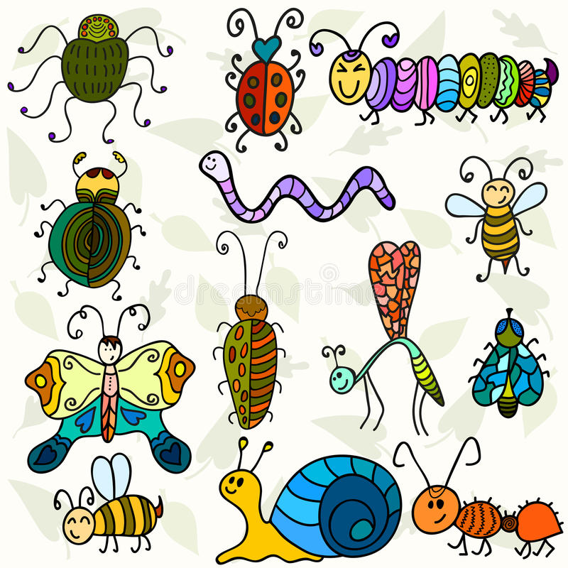 Cute bugs and funny insects. Vector illustration stock illustration