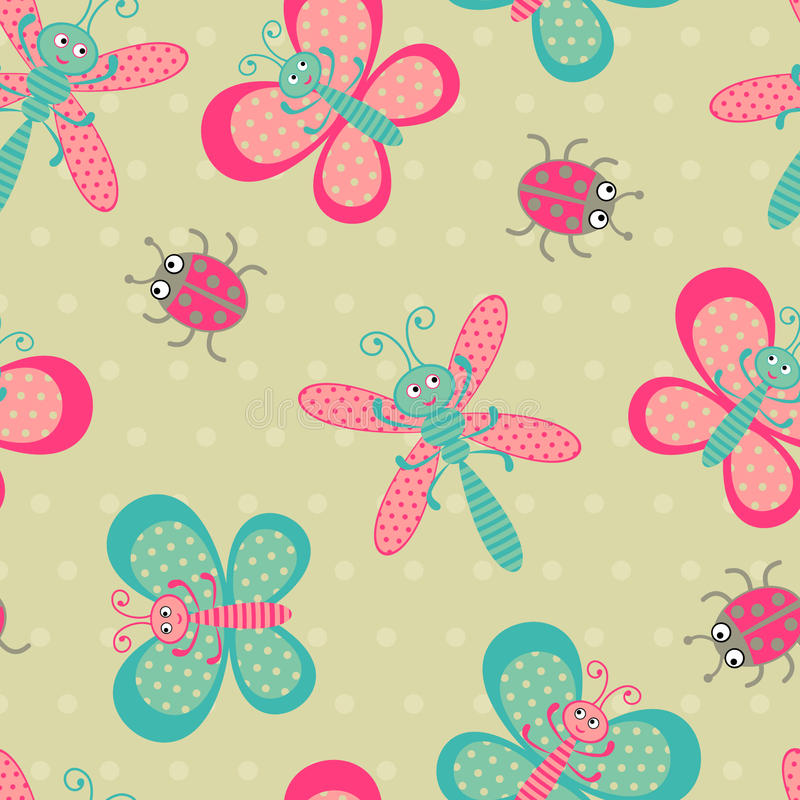 Download Cute bugs pattern stock vector. Image of textile, cute - 26145761