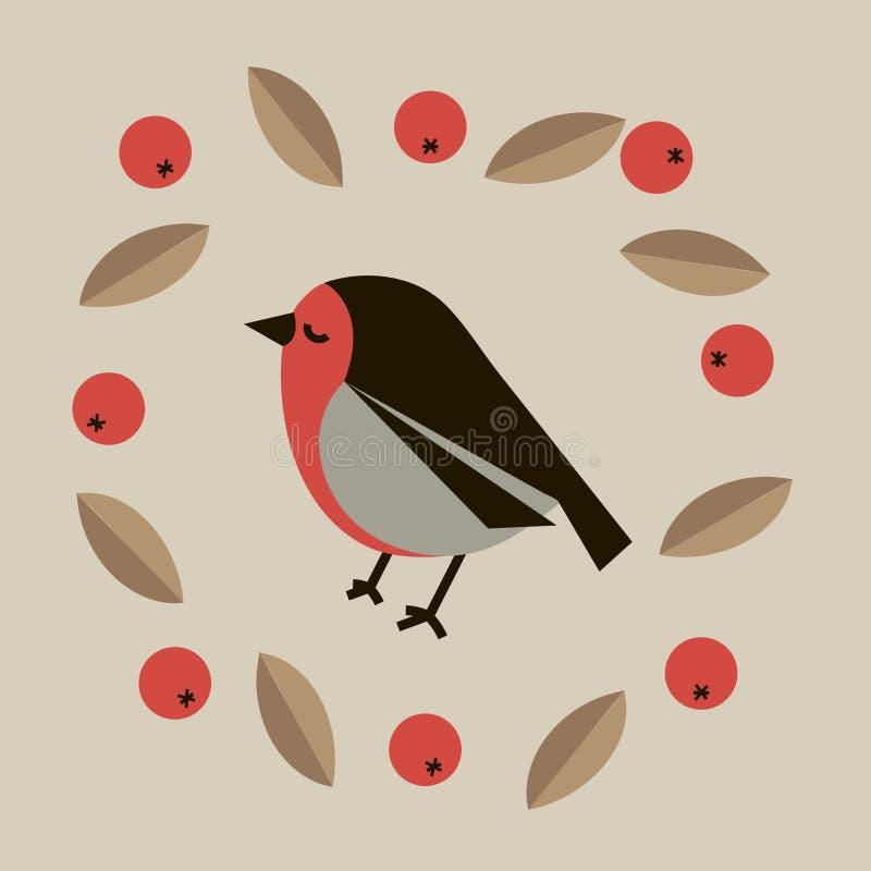 Cute bullfinch stock illustration