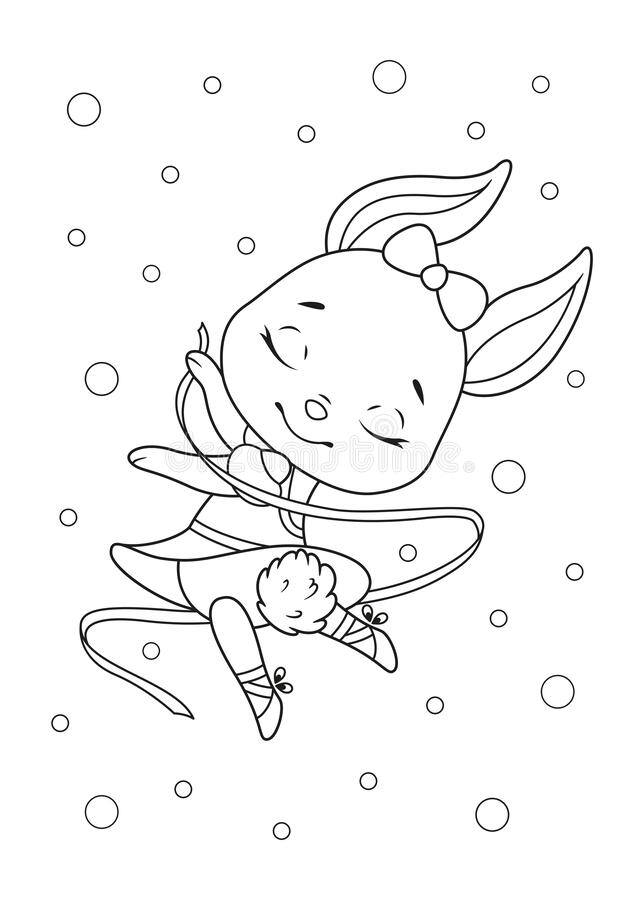 Bunny Ballerina Coloring Page Stock Vector Illustration Of Girl Sketch 186976090