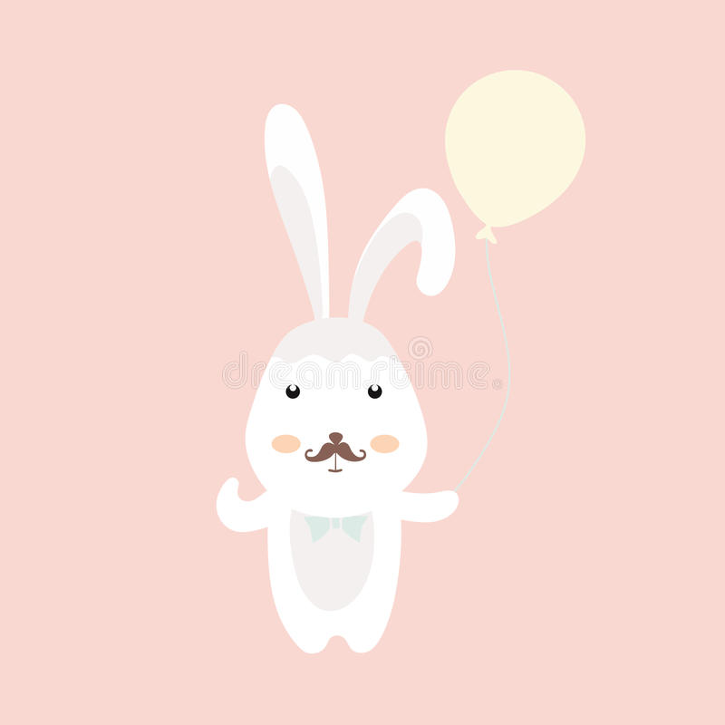 Cute Bunny with balloon. vector illustration