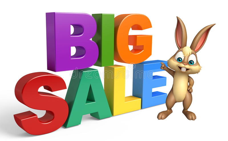 Cute Bunny cartoon character with big sale royalty free illustration