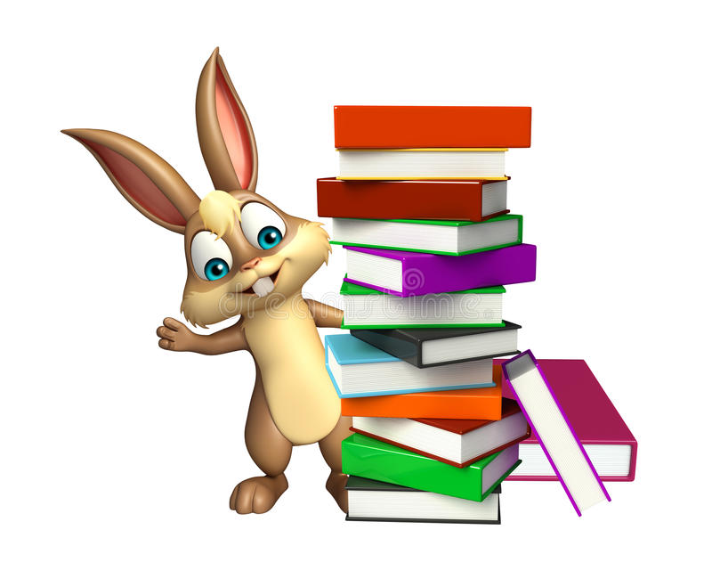 Cute Bunny cartoon character with book stack stock illustration