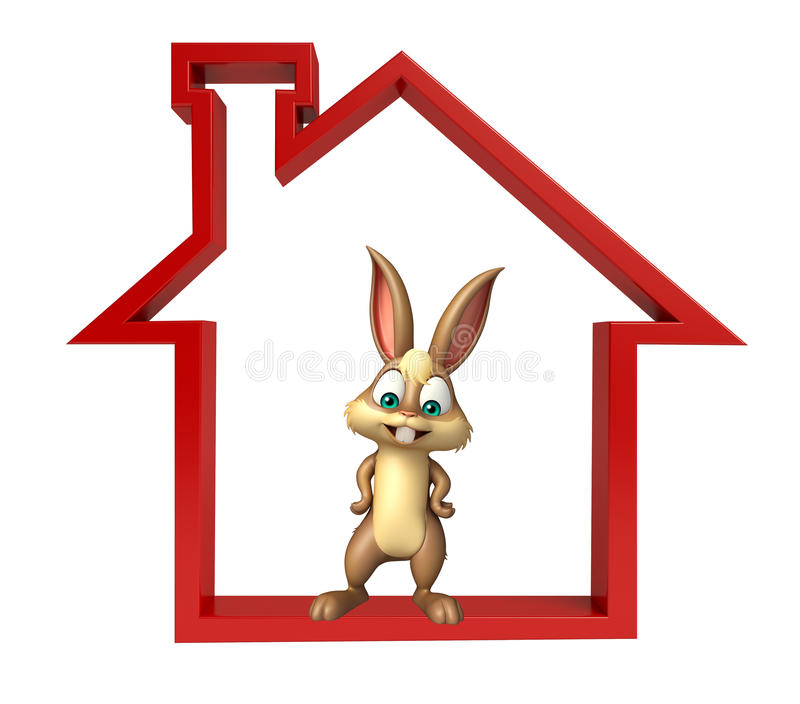 Cute Bunny cartoon character with home sign stock illustration