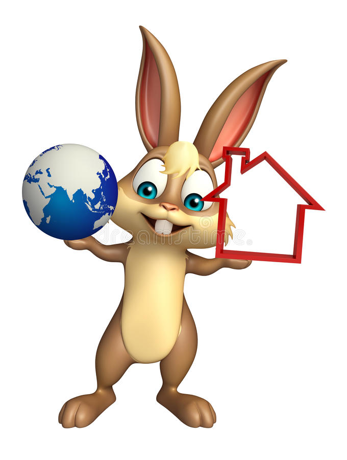 Cute Bunny cartoon character with home sign and earth vector illustration