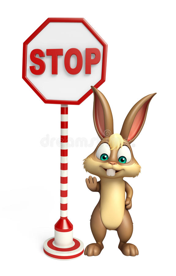 Cute Bunny cartoon character with stop sign royalty free illustration