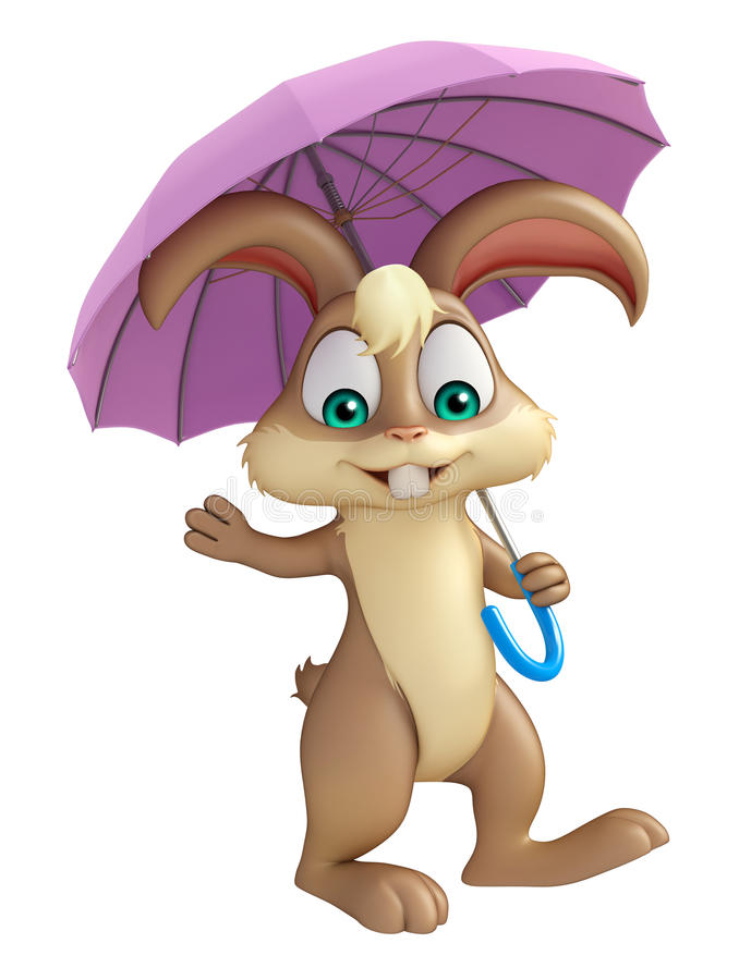 Cute Bunny cartoon character with umbrella stock illustration