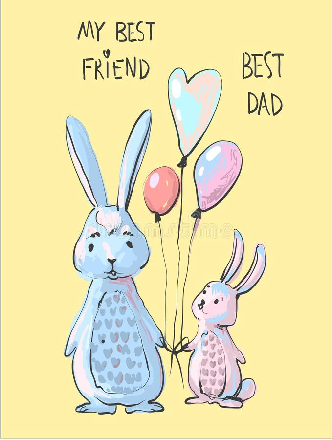 Cute bunny dad and little bunny son illustration, father day or frendship day cartoon style print, funny rabbits holding stock illustration