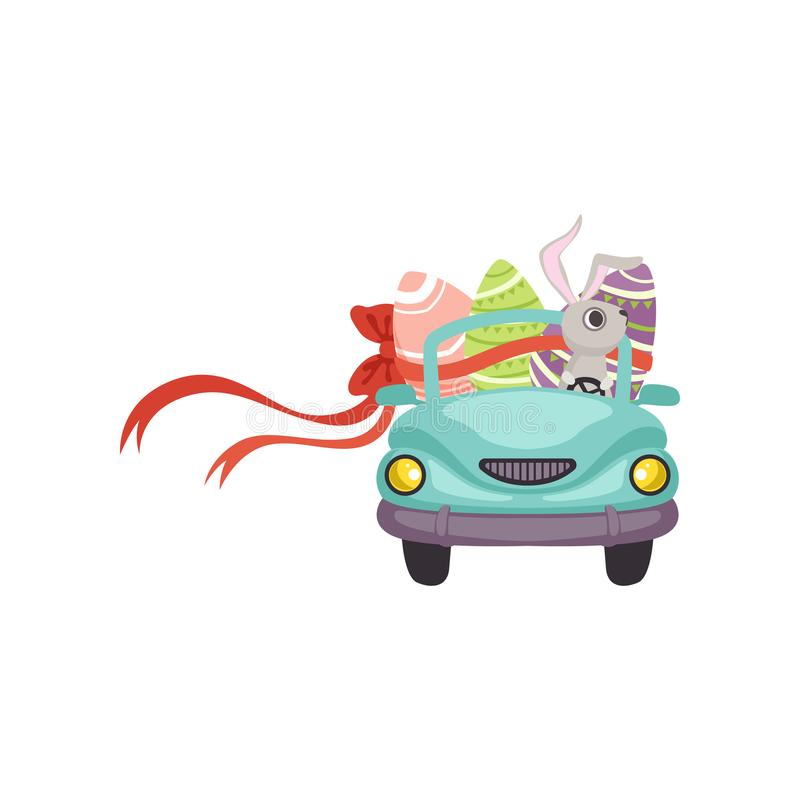 Cute bunny driving blue vintage car decorated with Easter eggs, funny rabbit character, Happy Easter concept cartoon. Vector Illustration on a white background royalty free illustration