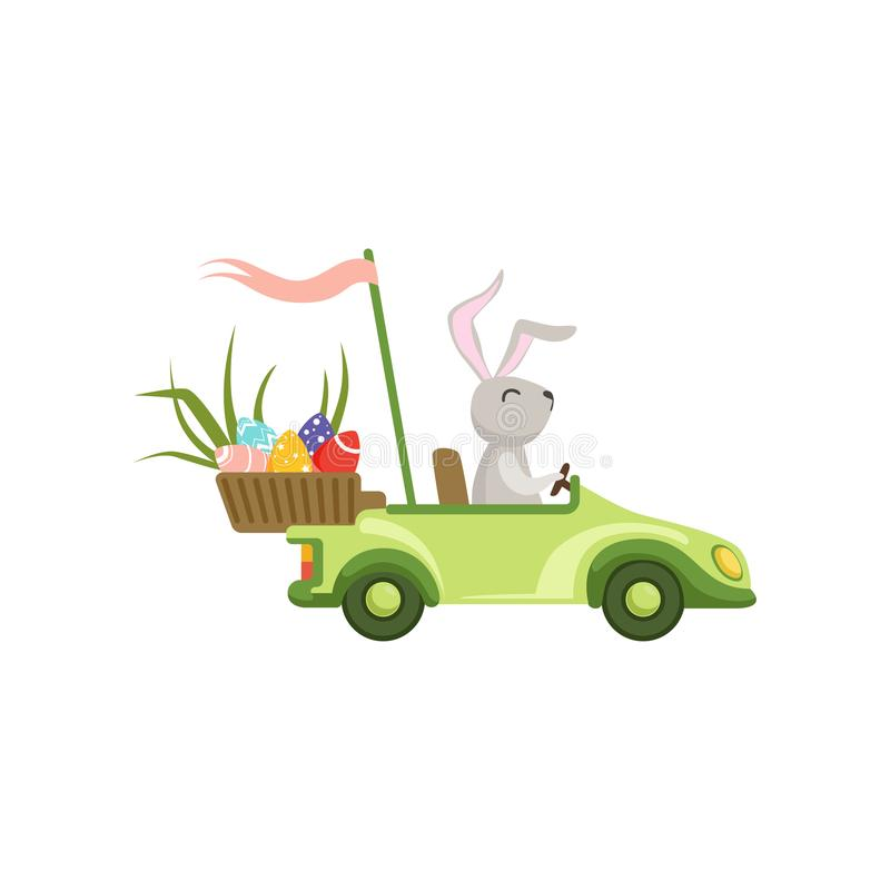 Cute bunny driving green vintage car with Easter eggs basket, funny rabbit character, Happy Easter concept cartoon. Vector Illustration on a white background stock illustration