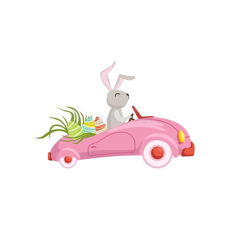 Cute bunny driving pink vintage car decorated with Easter eggs, funny rabbit character, Happy Easter concept cartoon. Vector Illustration on a white background stock illustration