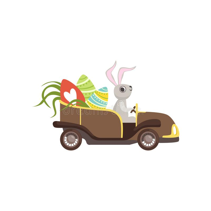 Cute bunny driving vintage car decorated with Easter eggs, funny rabbit character, Happy Easter concept cartoon vector. Illustration on a white background vector illustration