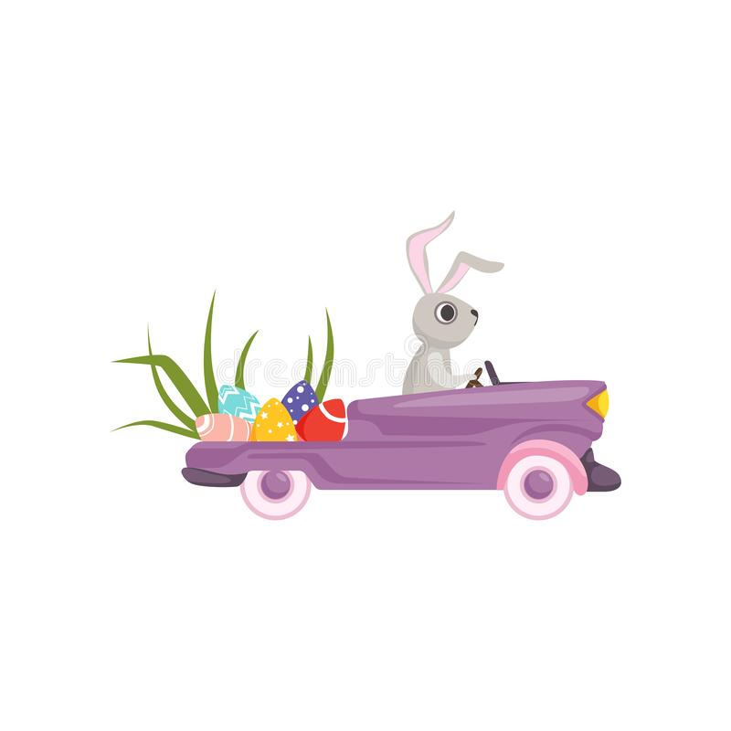 Cute bunny driving violet vintage car decorated with Easter eggs, funny rabbit character, Happy Easter concept cartoon. Vector Illustration on a white royalty free illustration