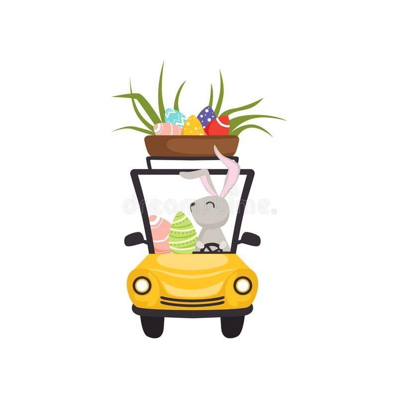 Cute bunny driving yellow vintage car with basket full of eggs , funny rabbit character, Happy Easter concept cartoon. Vector Illustration on a white background royalty free illustration