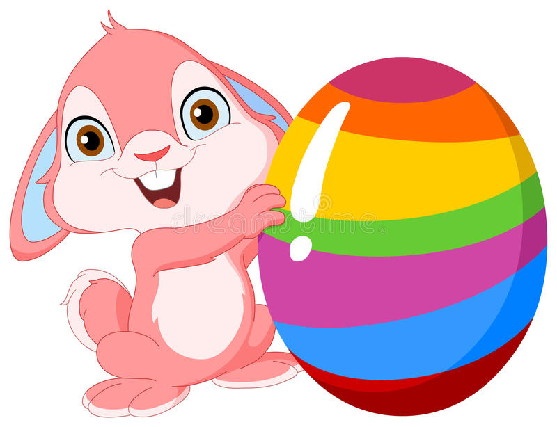 Cute bunny Easter. Cute pink bunny holding Easter egg