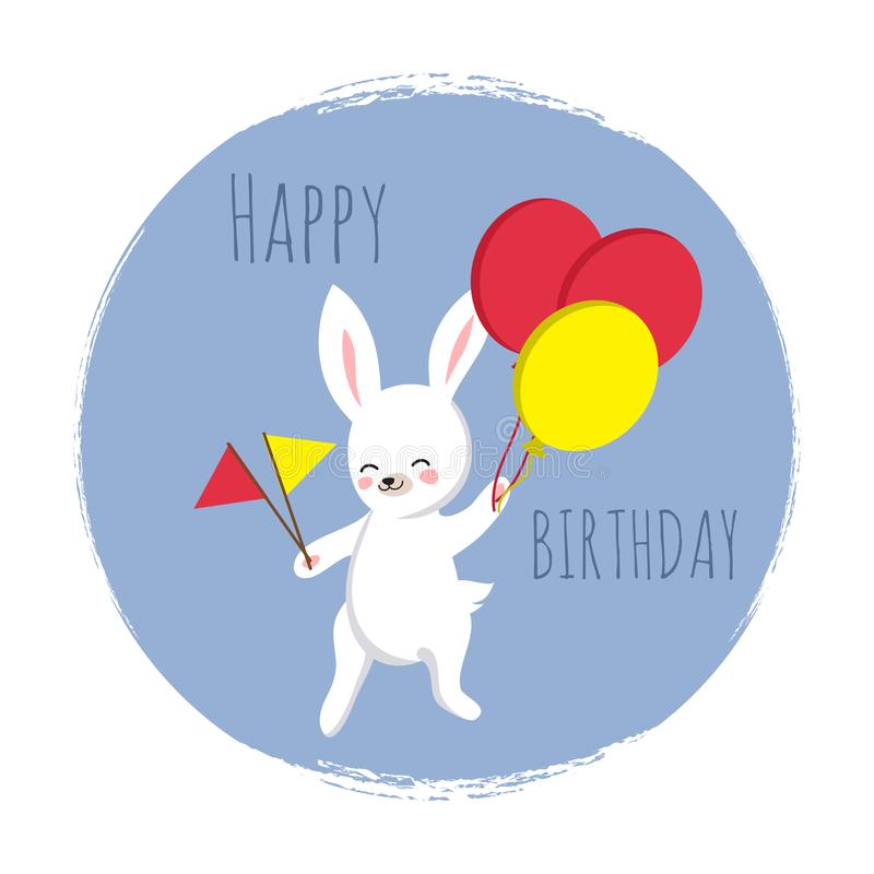 Cute bunny with flags and balloons. Happy Birthday template for cards royalty free illustration