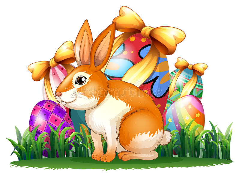 A cute bunny in front of the Easter eggs royalty free illustration