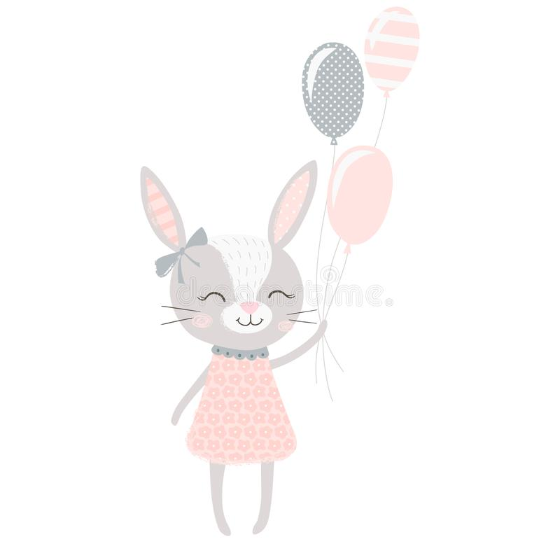 Cute bunny girl stock illustration