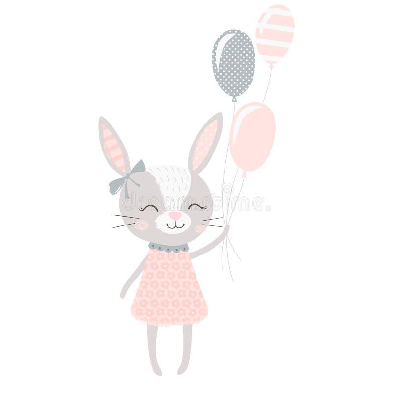 Cute bunny girl stock illustration