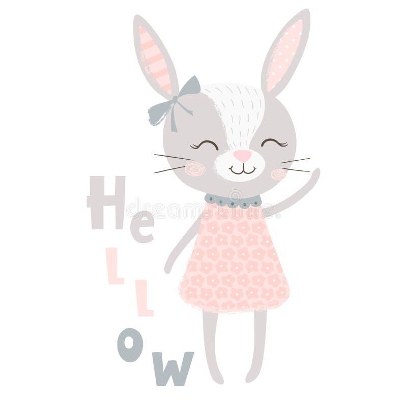 Cute bunny girl print. Sweet rabbit baby royalty free illustration