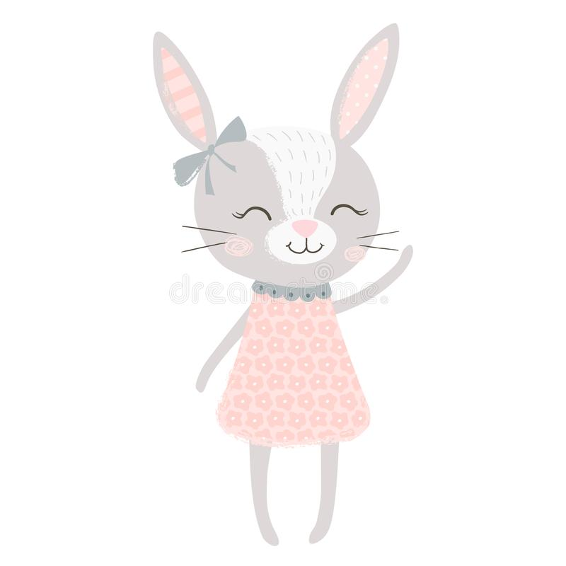 Cute bunny girl vector illustration