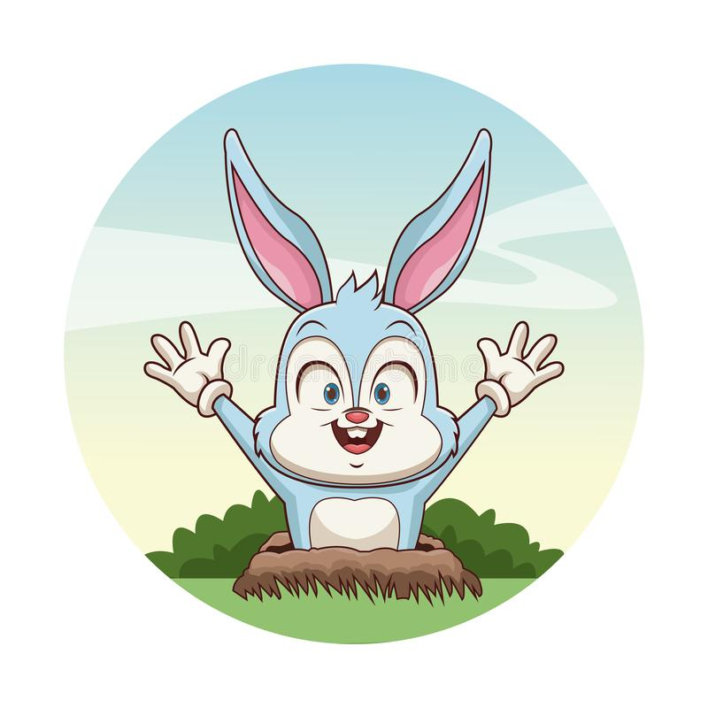 Cute bunny in the ground. Icon illustration graphic design stock illustration