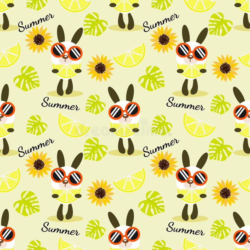 Cute bunny hold a  piece of lemon seamless pattern. vector illustration