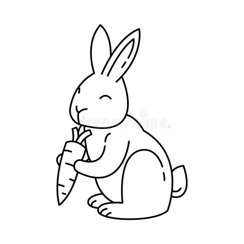 Cute Rabbit is holding a carrot Line art Design. vector illustration. Cute bunny holding a carrot. Thin line vector icon, Rabbit linear graphic symbol isolated vector illustration