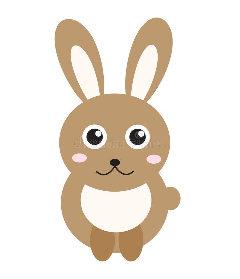 Cute bunny icon, flat style.Rabbit on white background. Vector illustration, clip-art. stock illustration