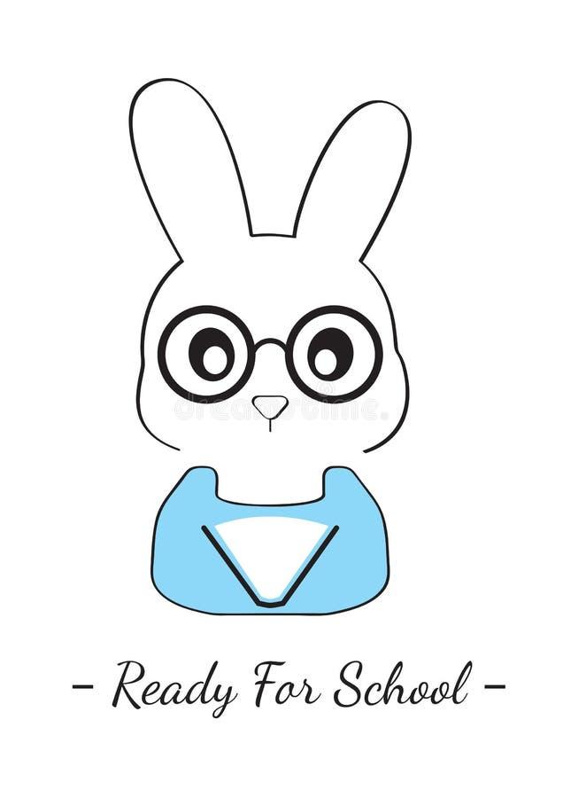 Bunny Illustration, Ready for School, Cartoon Bunny Vector Illustration, Cartoon Character Illustration vector illustration