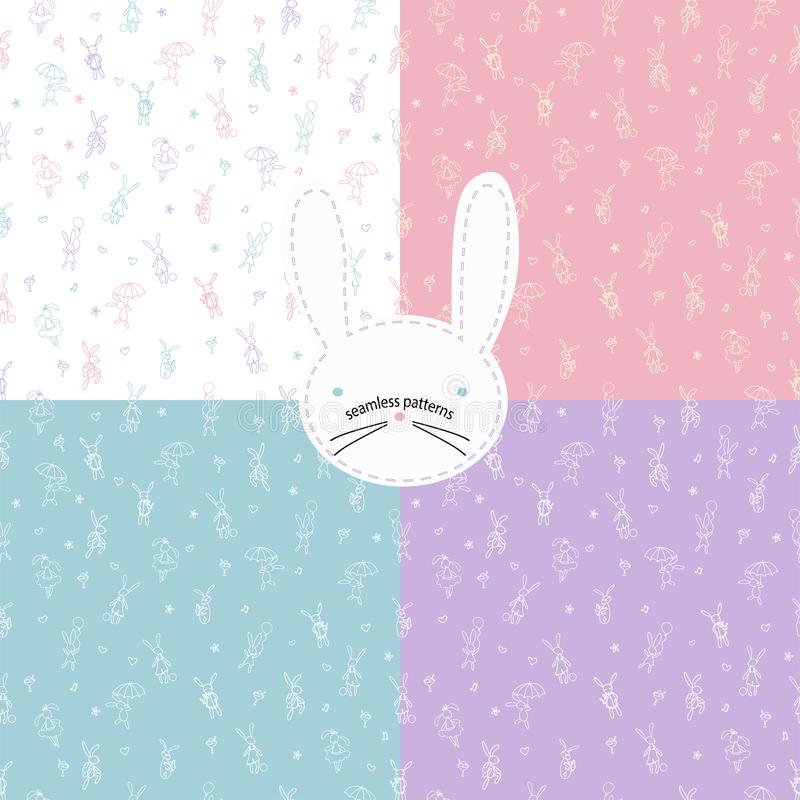 Cute rabbits seamless pattern. Textile and kids room secor. Cute bunny line seamless pattern for kids and babies. Best for nursery decor and apparel stock illustration