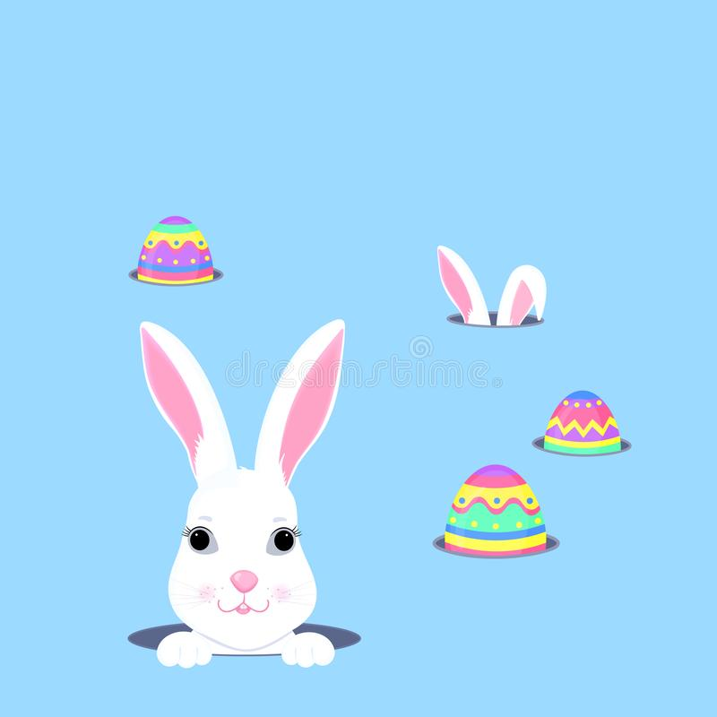 Cute bunny looks out of the hole. Easter egg hunt. White rabbit cartoon character vector illustration