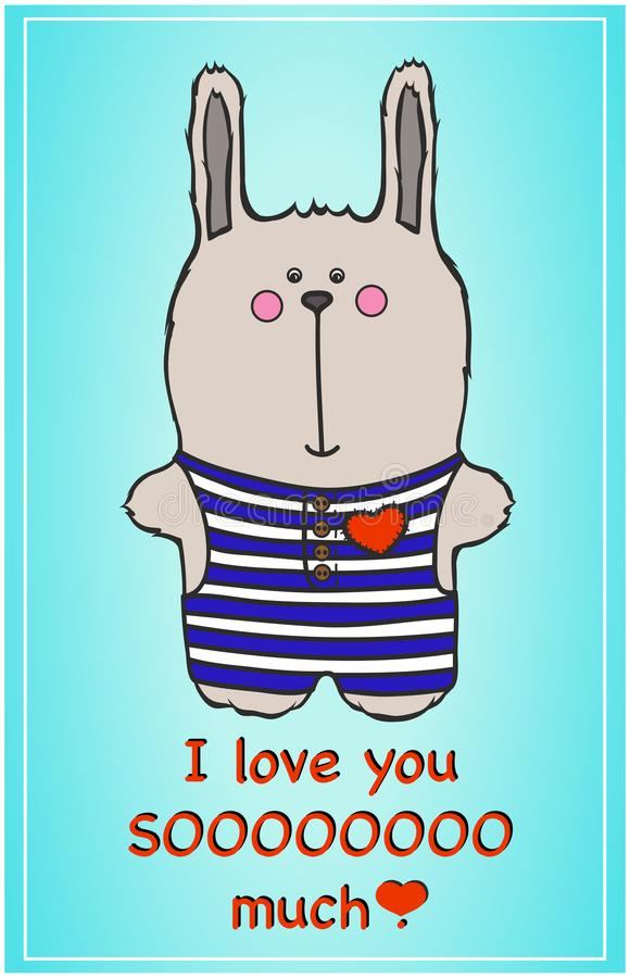 cute bunny. postcard to a loved one royalty free illustration