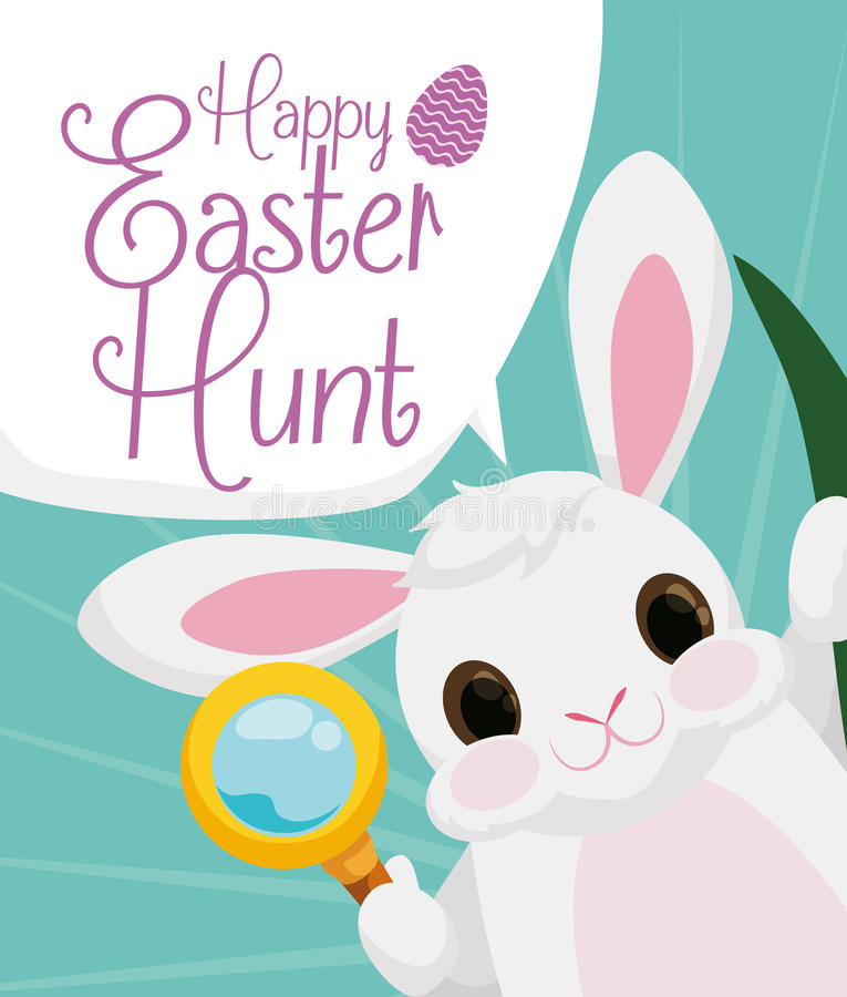 Cute Bunny Ready to Easter Hunt, Vector Illustration stock image