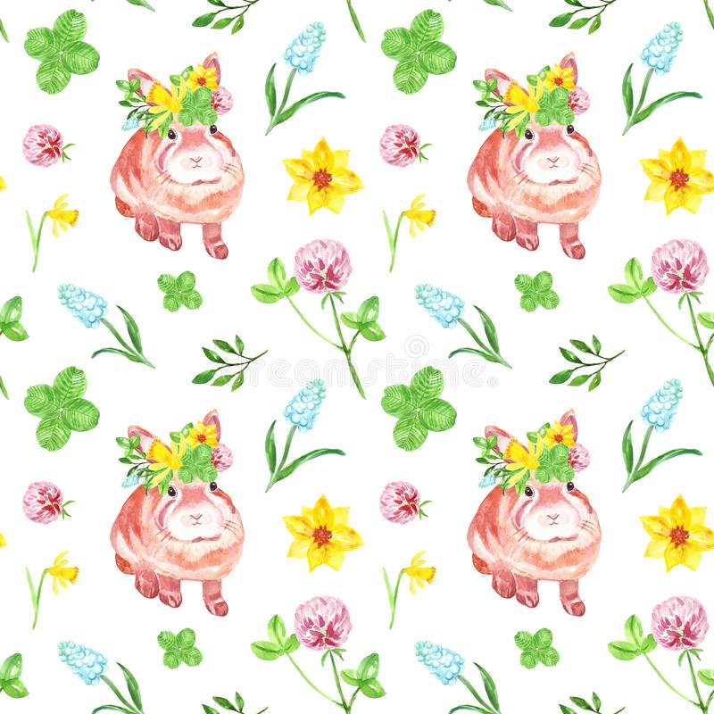 Watercolor floral seamless pattern with cute baby bunny on white background. Spring and summer flowers repeat print stock illustration