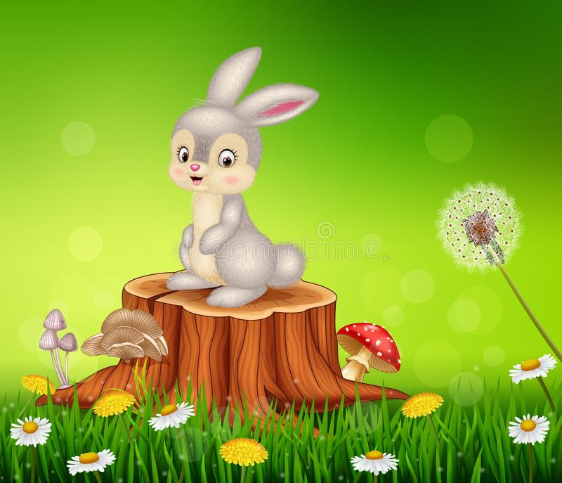 Cute bunny sitting on tree stump royalty free illustration