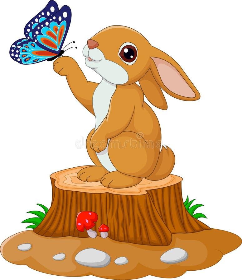 Cute bunny standing on tree stump stock illustration