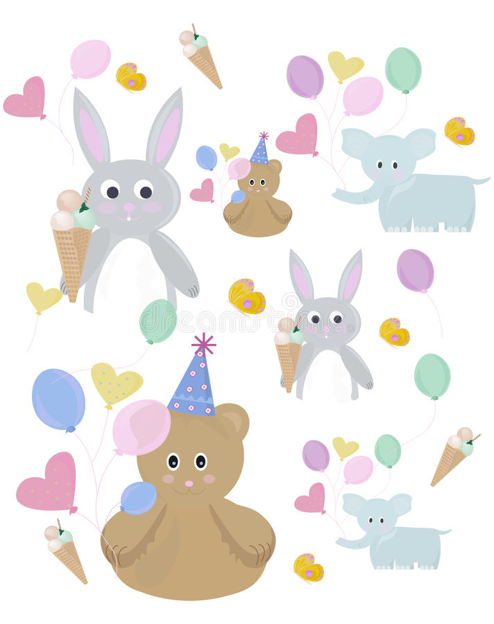 Cute bunny and teddy bear pattern for colorbooks or children theme Vector illustration royalty free illustration