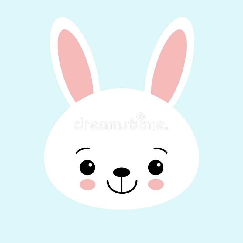 Cute bunny vector graphic icon. White rabbit animal head, face illustration. Isolated on blue background royalty free illustration