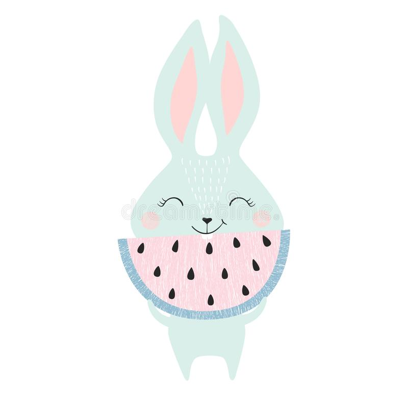 Cute bunny with watermelon royalty free illustration
