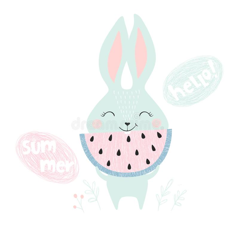 Cute bunny with watermelon vector illustration