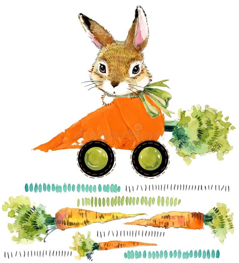 Cute bunny. wild rabbit. watercolor carrot illustration. Cartoon car stock illustration