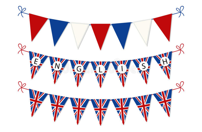 Cute bunting flags for English Language Day vector illustration