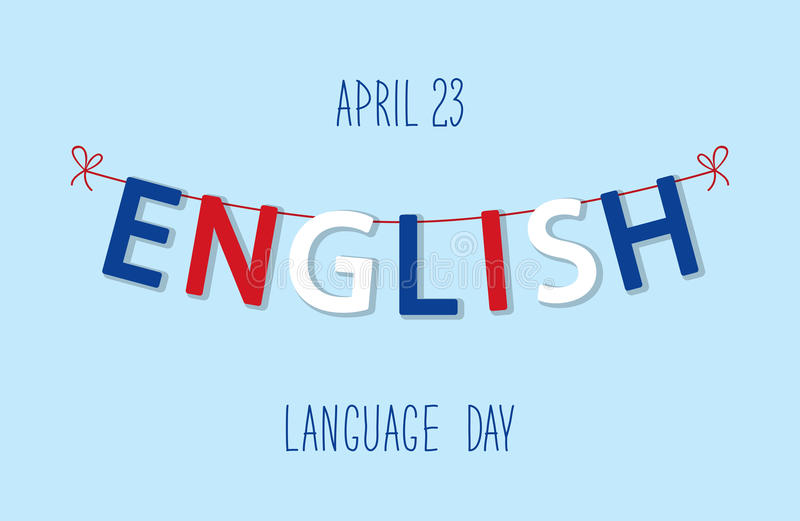 Cute bunting flags for English Language Day royalty free illustration