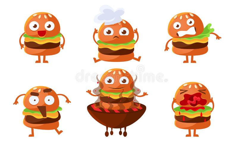 Cute Burger Cartoon Character Set, Funny Fast Food with Various Emotions Vector Illustration. On White Background vector illustration