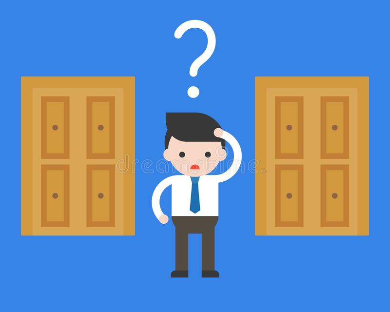 cute business man confuse to choose door to open, business situation concept about decision stock illustration