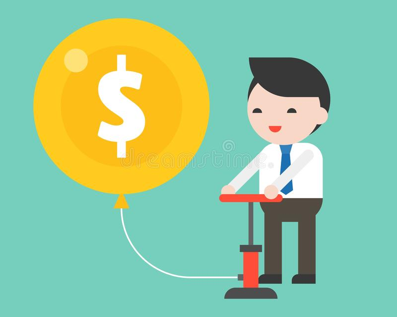 Cute business man pumping air in money balloon with happiness, b vector illustration