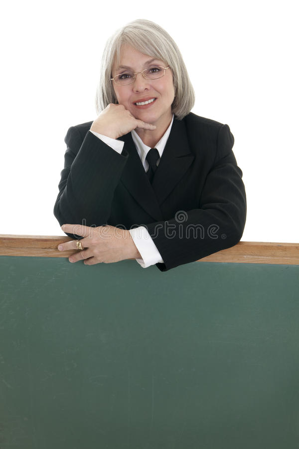 Download Cute Business Woman With Blank Chalkboard Stock Image - Image: 15004113